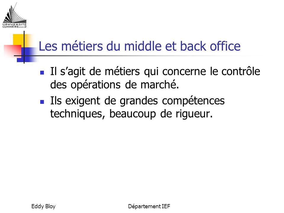 Eddy BloyDépartement IEF Les métiers du middle et back office Il s'agit de métiers qui concerne le contrôle des opérations de marché.