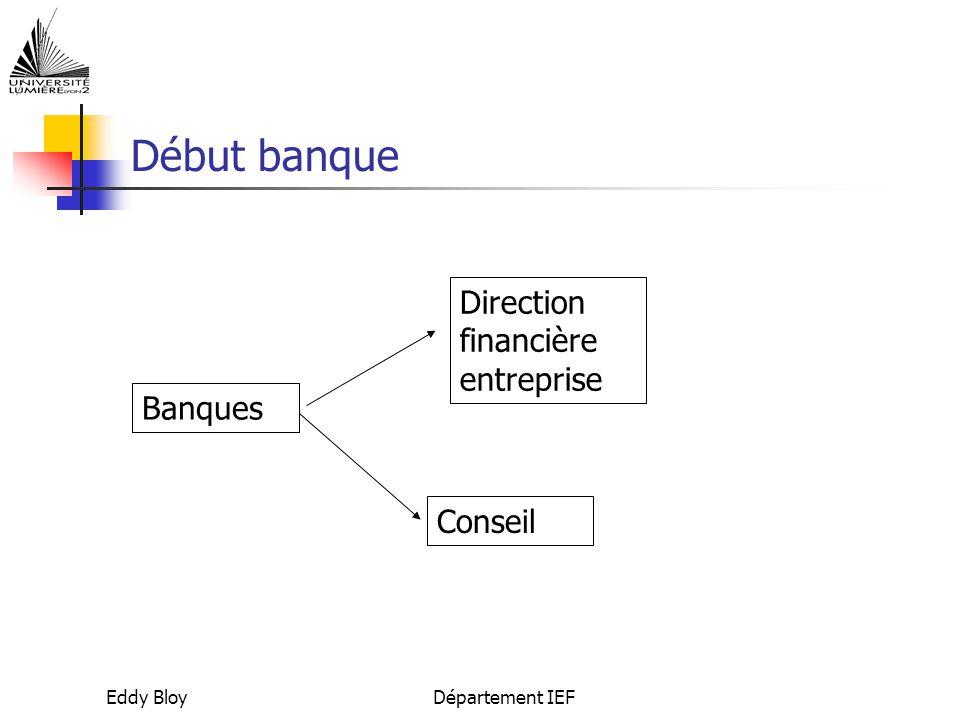 Eddy BloyDépartement IEF Début banque Banques Direction financière entreprise Conseil