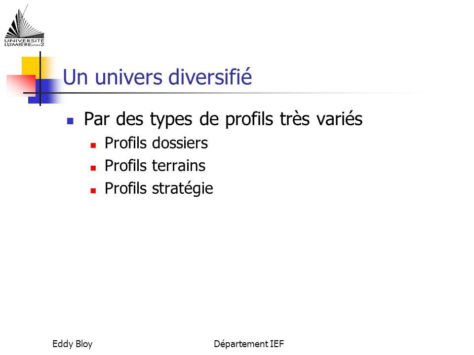 Eddy BloyDépartement IEF Un univers diversifié Par des types de profils très variés Profils dossiers Profils terrains Profils stratégie