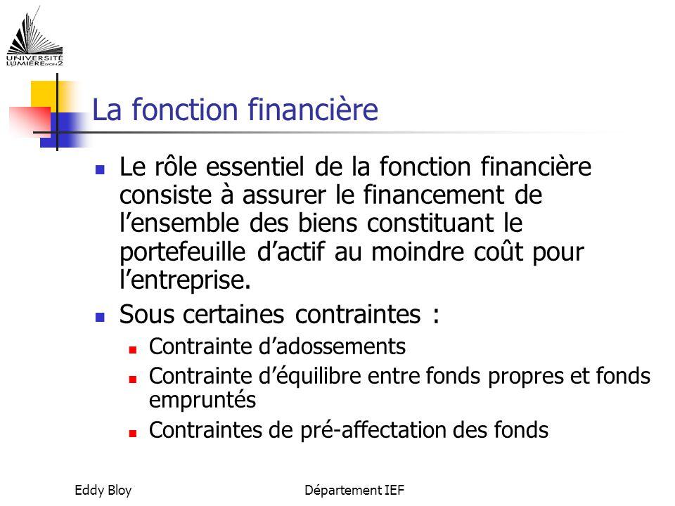 Eddy BloyDépartement IEF La fonction financière Le rôle essentiel de la fonction financière consiste à assurer le financement de l'ensemble des biens constituant le portefeuille d'actif au moindre coût pour l'entreprise.