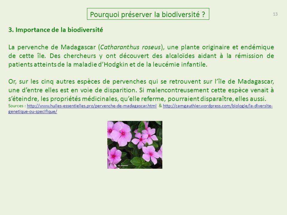 13 Pourquoi préserver la biodiversité ? 3. Importance de la biodiversité La pervenche de Madagascar (Catharanthus roseus), une plante originaire et en
