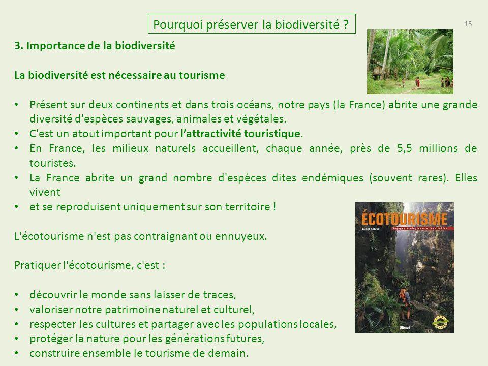 15 Pourquoi préserver la biodiversité ? 3. Importance de la biodiversité La biodiversité est nécessaire au tourisme Présent sur deux continents et dan