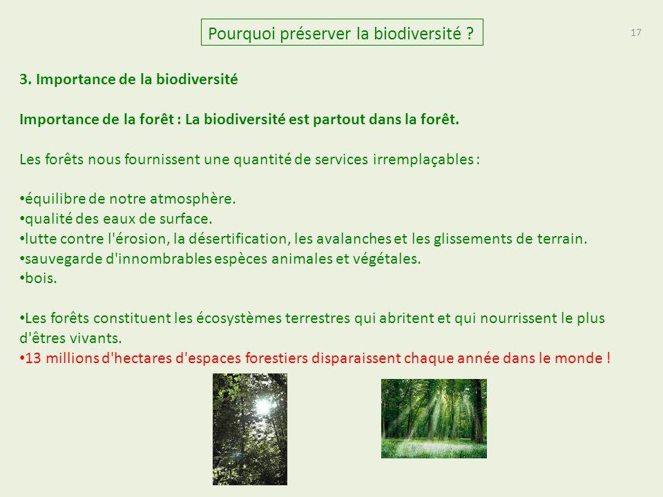 17 Pourquoi préserver la biodiversité ? 3. Importance de la biodiversité Importance de la forêt : La biodiversité est partout dans la forêt. Les forêt