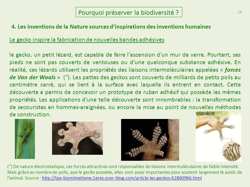26 Pourquoi préserver la biodiversité ? 4. Les inventions de la Nature sources d'inspirations des inventions humaines Le gecko inspire la fabrication