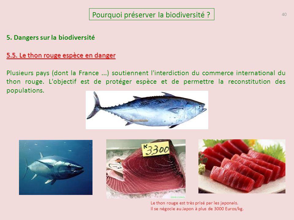 40 5. Dangers sur la biodiversité 5.5. Le thon rouge espèce en danger Plusieurs pays (dont la France...) soutiennent l'interdiction du commerce intern