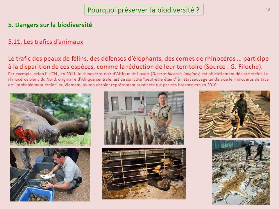 5. Dangers sur la biodiversité 5.11. Les trafics d'animaux Le trafic des peaux de félins, des défenses d'éléphants, des cornes de rhinocéros … partici