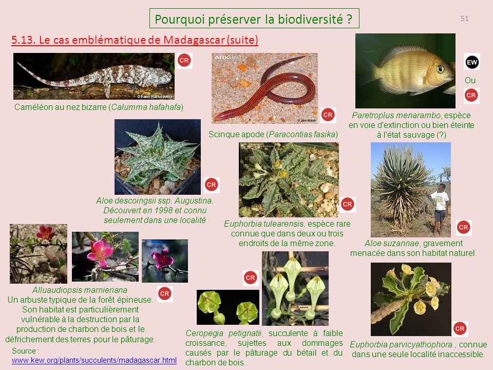 51 Pourquoi préserver la biodiversité ? 5.13. Le cas emblématique de Madagascar (suite) Caméléon au nez bizarre (Calumma hafahafa) Scinque apode (Para