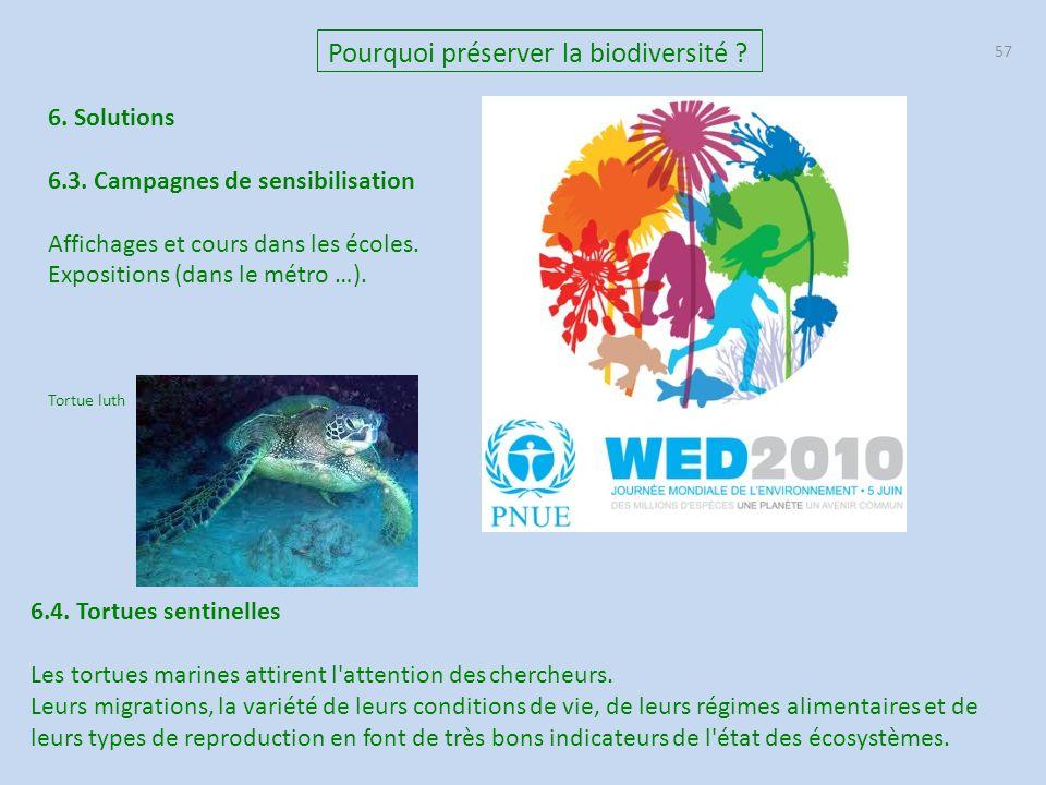 57 Pourquoi préserver la biodiversité ? 6. Solutions 6.3. Campagnes de sensibilisation Affichages et cours dans les écoles. Expositions (dans le métro