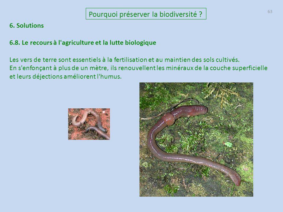 63 6. Solutions 6.8. Le recours à l'agriculture et la lutte biologique Les vers de terre sont essentiels à la fertilisation et au maintien des sols cu