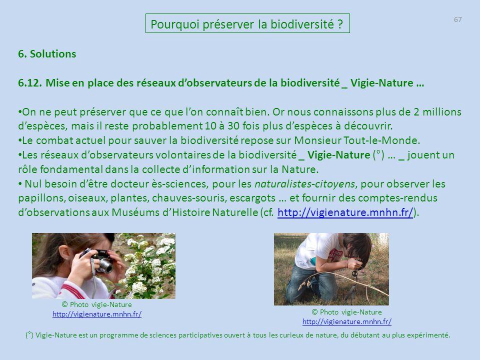 67 Pourquoi préserver la biodiversité ? 6. Solutions 6.12. Mise en place des réseaux d'observateurs de la biodiversité _ Vigie-Nature … On ne peut pré