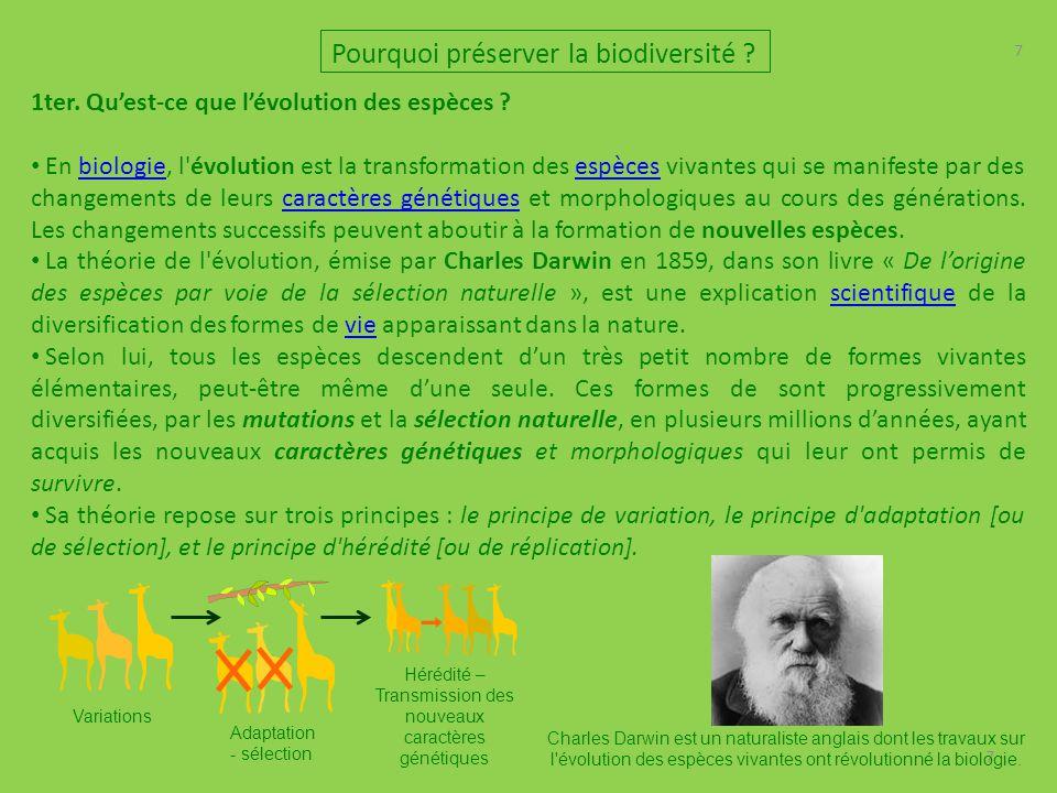 7 7 Pourquoi préserver la biodiversité ? 1ter. Qu'est-ce que l'évolution des espèces ? En biologie, l'évolution est la transformation des espèces viva