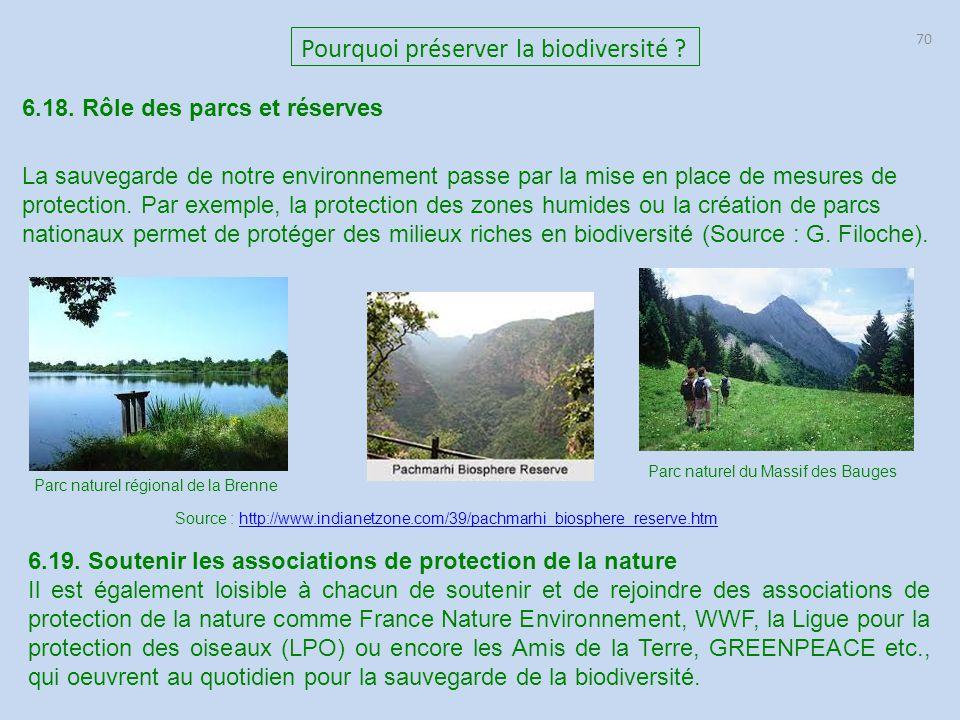 70 Pourquoi préserver la biodiversité ? 6.18. Rôle des parcs et réserves La sauvegarde de notre environnement passe par la mise en place de mesures de