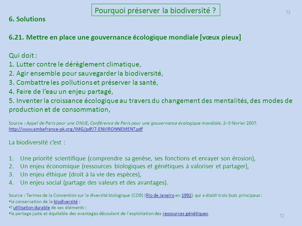 72 Pourquoi préserver la biodiversité ? 6. Solutions 6.21. Mettre en place une gouvernance écologique mondiale [vœux pieux] Qui doit : 1. Lutter contr