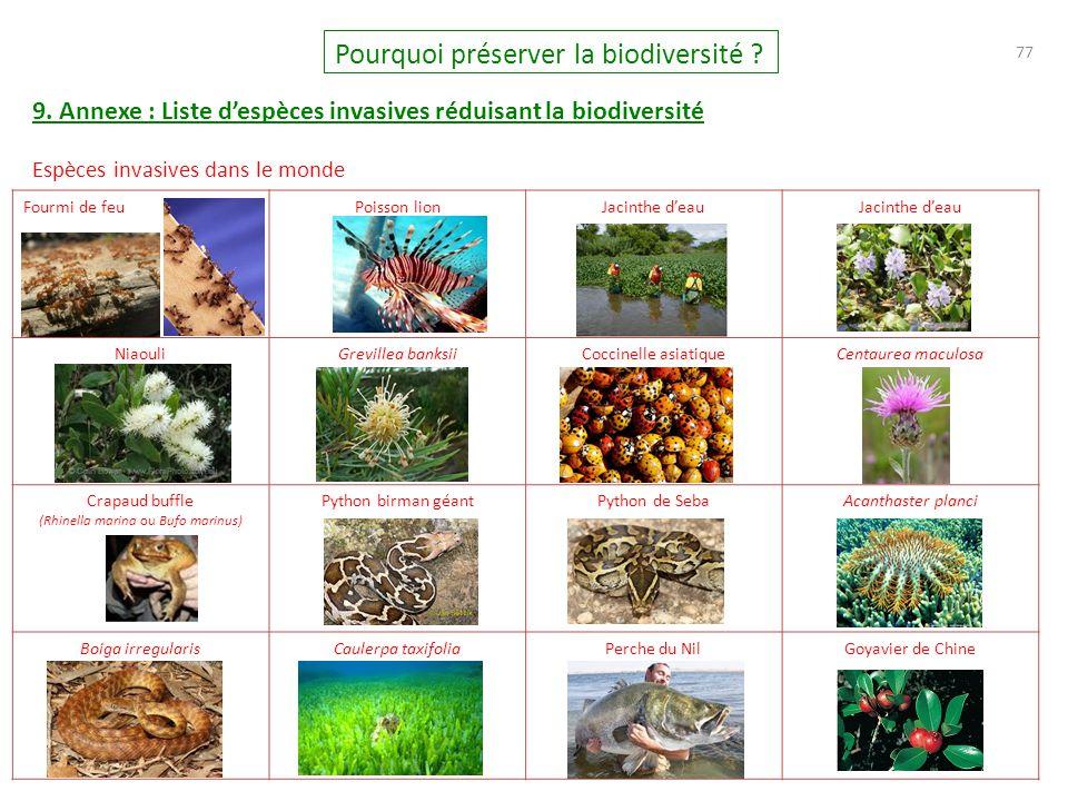 77 Pourquoi préserver la biodiversité ? 9. Annexe : Liste d'espèces invasives réduisant la biodiversité Espèces invasives dans le monde Fourmi de feuP