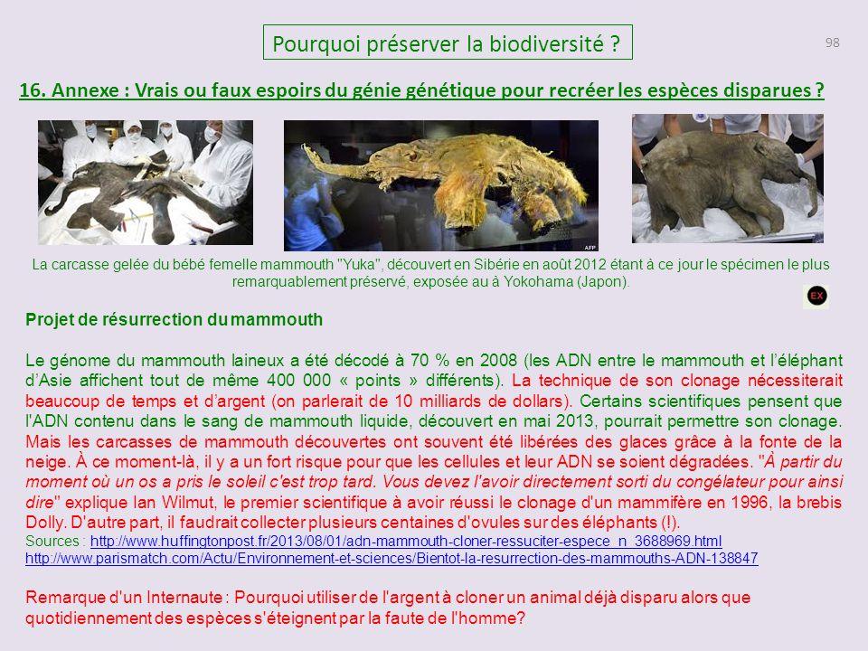 98 Pourquoi préserver la biodiversité ? 16. Annexe : Vrais ou faux espoirs du génie génétique pour recréer les espèces disparues ? Projet de résurrect