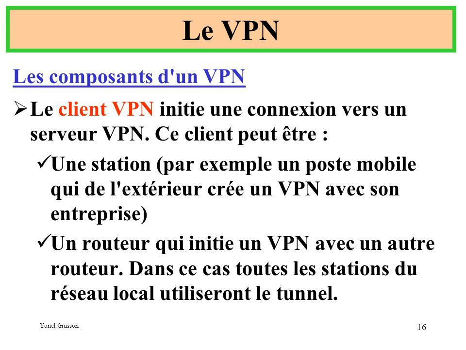 Yonel Grusson 16 Le VPN Les composants d un VPN  Le client VPN initie une connexion vers un serveur VPN.