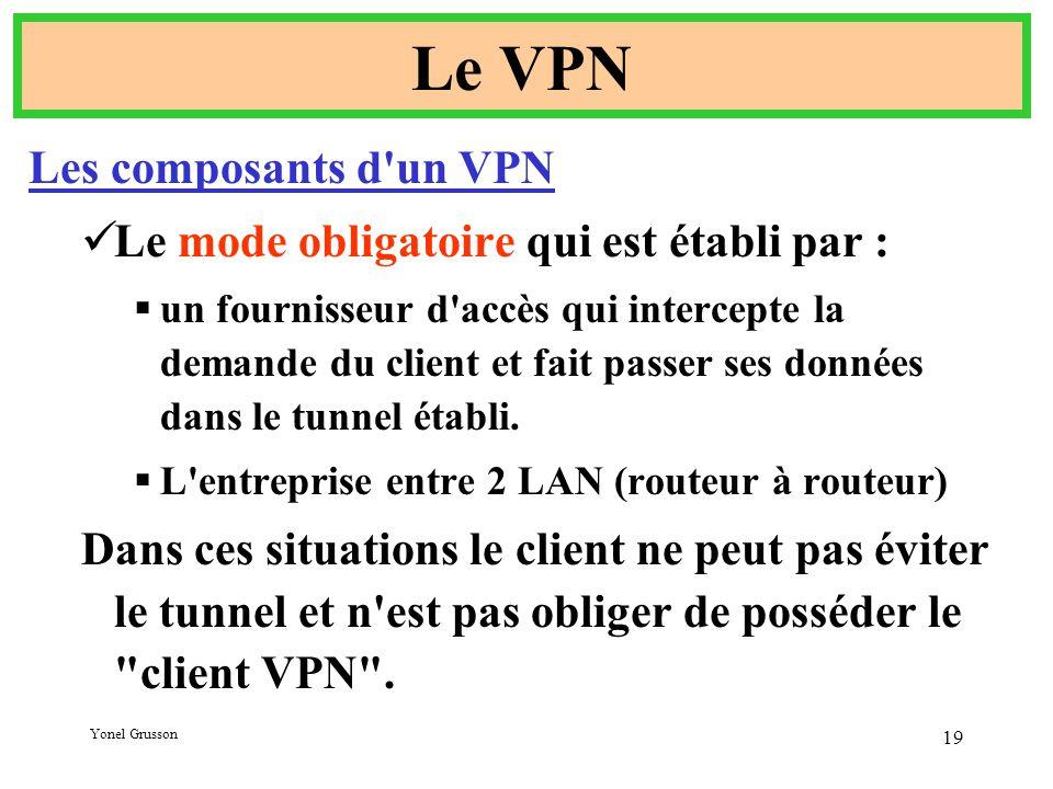 Yonel Grusson 19 Le VPN Les composants d un VPN Le mode obligatoire qui est établi par :  un fournisseur d accès qui intercepte la demande du client et fait passer ses données dans le tunnel établi.
