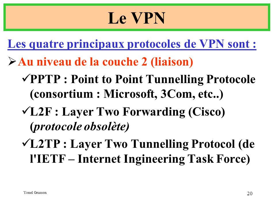 Yonel Grusson 20 Le VPN Les quatre principaux protocoles de VPN sont :  Au niveau de la couche 2 (liaison) PPTP : Point to Point Tunnelling Protocole (consortium : Microsoft, 3Com, etc..) L2F : Layer Two Forwarding (Cisco) (protocole obsolète) L2TP : Layer Two Tunnelling Protocol (de l IETF – Internet Ingineering Task Force)