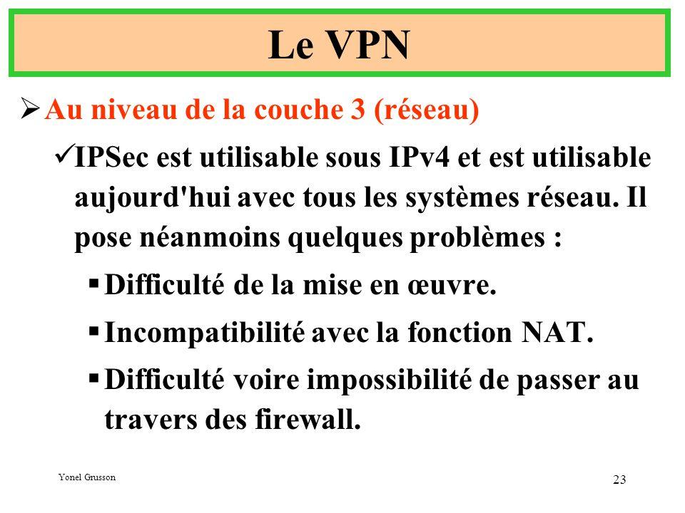 Yonel Grusson 23 Le VPN  Au niveau de la couche 3 (réseau) IPSec est utilisable sous IPv4 et est utilisable aujourd hui avec tous les systèmes réseau.