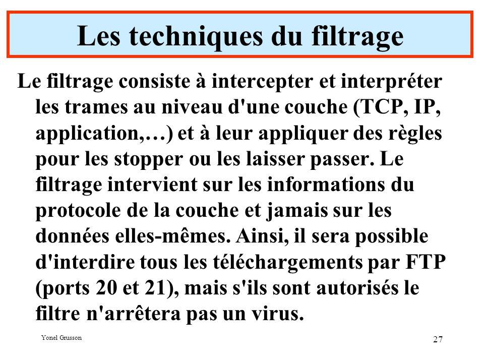 Yonel Grusson 27 Les techniques du filtrage Le filtrage consiste à intercepter et interpréter les trames au niveau d une couche (TCP, IP, application,…) et à leur appliquer des règles pour les stopper ou les laisser passer.