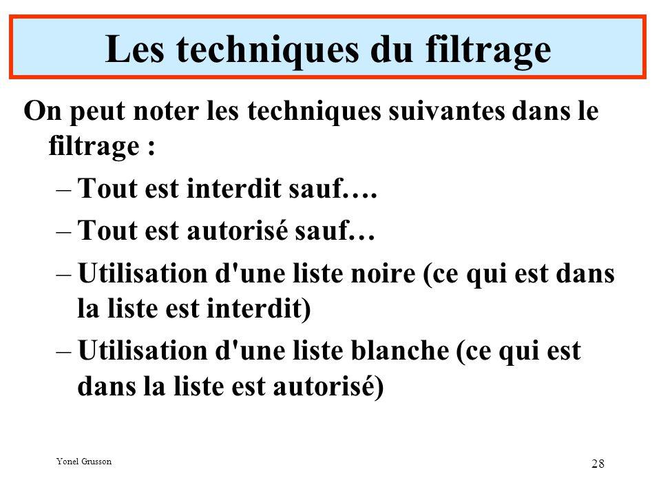 Yonel Grusson 28 Les techniques du filtrage On peut noter les techniques suivantes dans le filtrage : –Tout est interdit sauf….