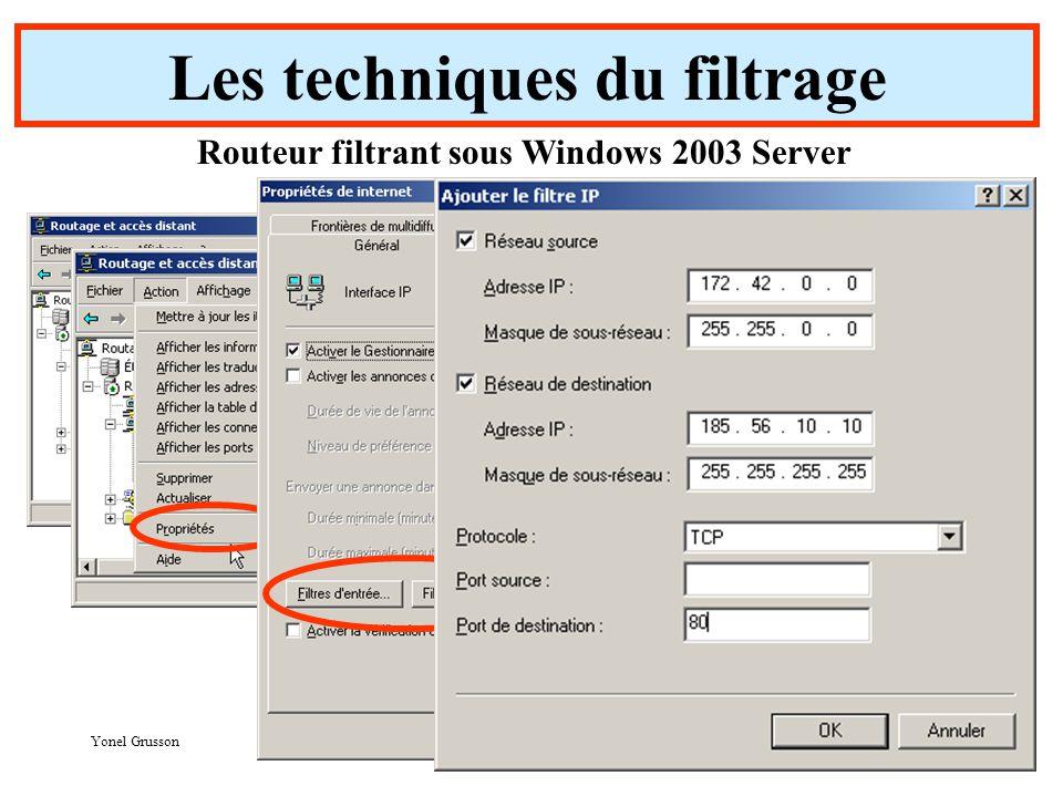 Yonel Grusson 32 Les techniques du filtrage Routeur filtrant sous Windows 2003 Server