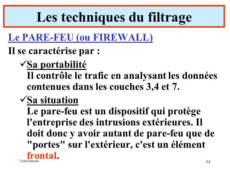 Yonel Grusson 34 Les techniques du filtrage Le PARE-FEU (ou FIREWALL) Il se caractérise par : Sa portabilité Il contrôle le trafic en analysant les données contenues dans les couches 3,4 et 7.