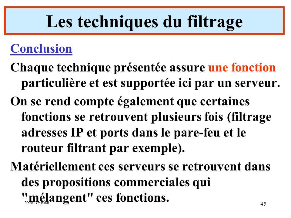 Yonel Grusson 45 Conclusion Chaque technique présentée assure une fonction particulière et est supportée ici par un serveur.