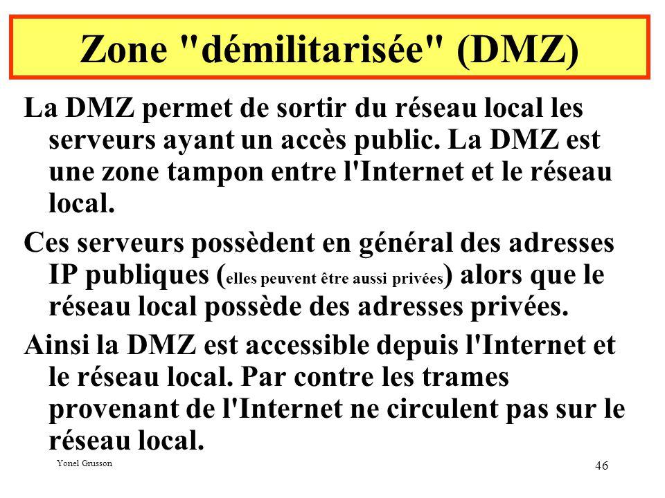 Yonel Grusson 46 Zone démilitarisée (DMZ) La DMZ permet de sortir du réseau local les serveurs ayant un accès public.