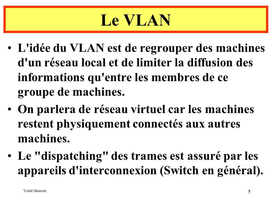 Yonel Grusson 5 Le VLAN L idée du VLAN est de regrouper des machines d un réseau local et de limiter la diffusion des informations qu entre les membres de ce groupe de machines.