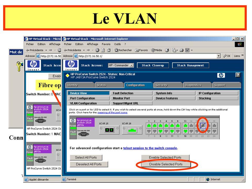 Yonel Grusson 8 Le VLAN Connexion au Switch à l aide d un navigateur Fibre optique Switchs stackés