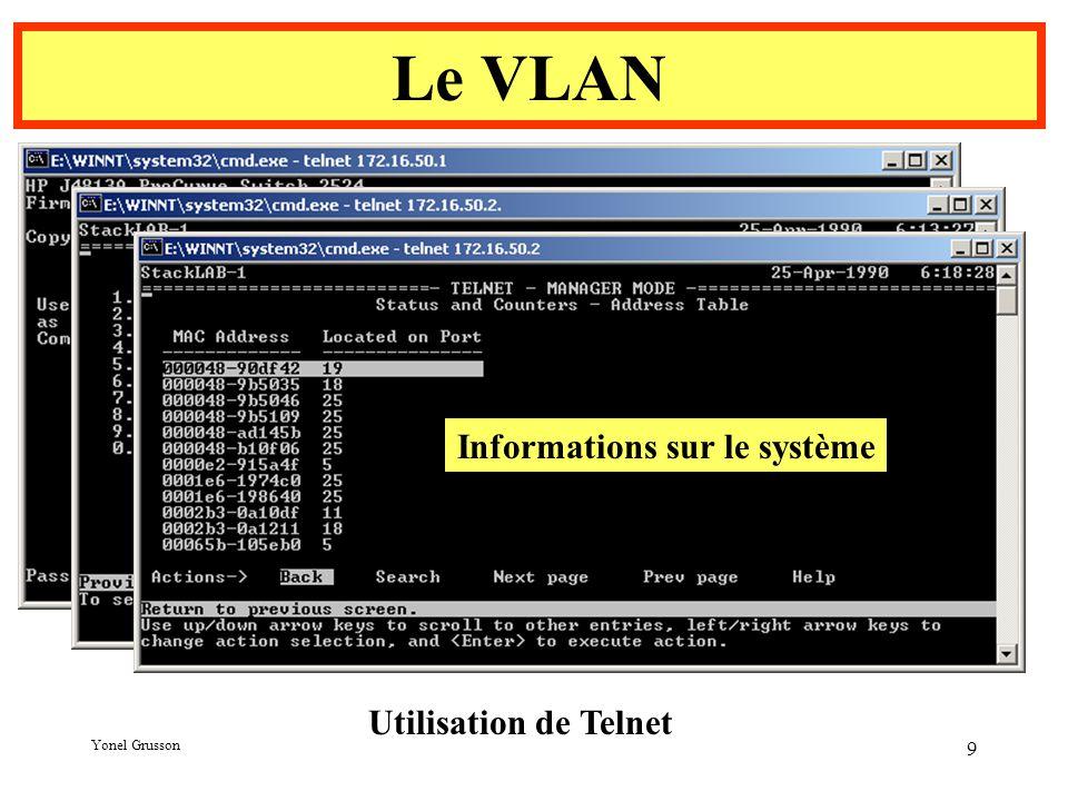 Yonel Grusson 9 Le VLAN Utilisation de Telnet Informations sur le système