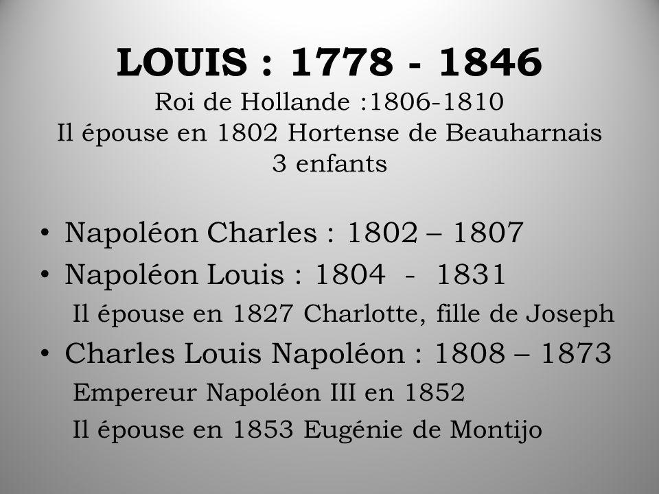 LOUIS : 1778 - 1846 Roi de Hollande :1806-1810 Il épouse en 1802 Hortense de Beauharnais 3 enfants Napoléon Charles : 1802 – 1807 Napoléon Louis : 1804 - 1831 Il épouse en 1827 Charlotte, fille de Joseph Charles Louis Napoléon : 1808 – 1873 Empereur Napoléon III en 1852 Il épouse en 1853 Eugénie de Montijo