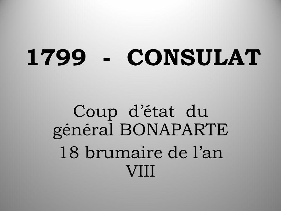 1799 - CONSULAT Coup d'état du général BONAPARTE 18 brumaire de l'an VIII