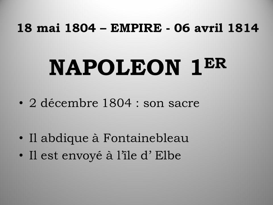 18 mai 1804 – EMPIRE - 06 avril 1814 NAPOLEON 1 ER 2 décembre 1804 : son sacre Il abdique à Fontainebleau Il est envoyé à l'île d' Elbe