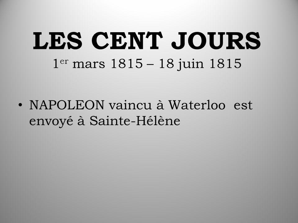 LES CENT JOURS 1 er mars 1815 – 18 juin 1815 NAPOLEON vaincu à Waterloo est envoyé à Sainte-Hélène