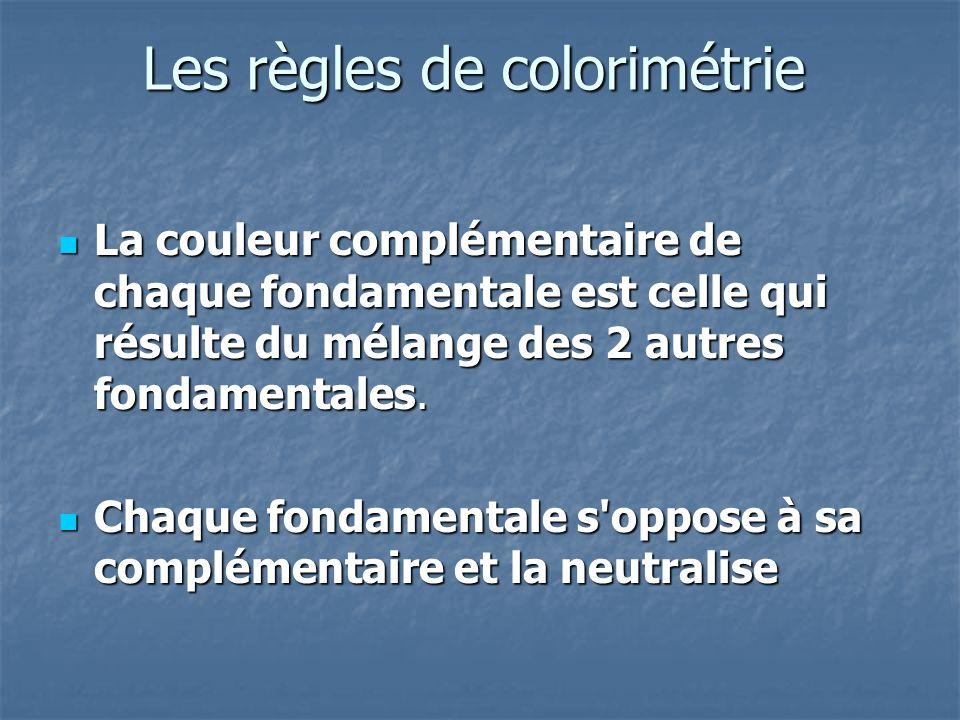 Les règles de colorimétrie La couleur complémentaire de chaque fondamentale est celle qui résulte du mélange des 2 autres fondamentales. La couleur co