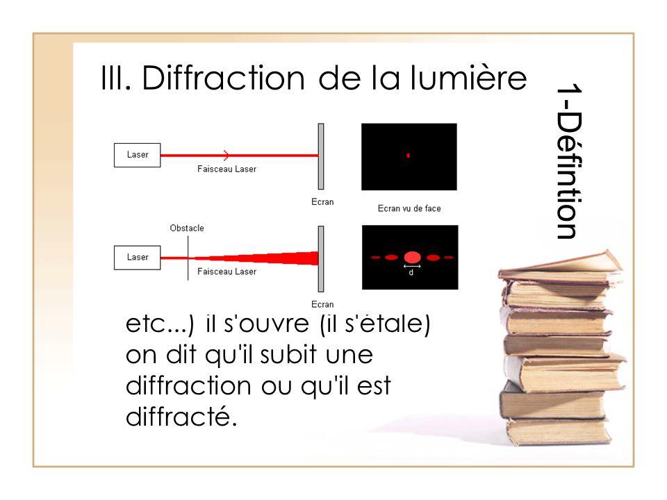III. Diffraction de la lumière Lorsqu'un faisceau lumineux rencontre un obstacle de petite taille (un cheveux, une tête d'épingle, un tout petit trou,