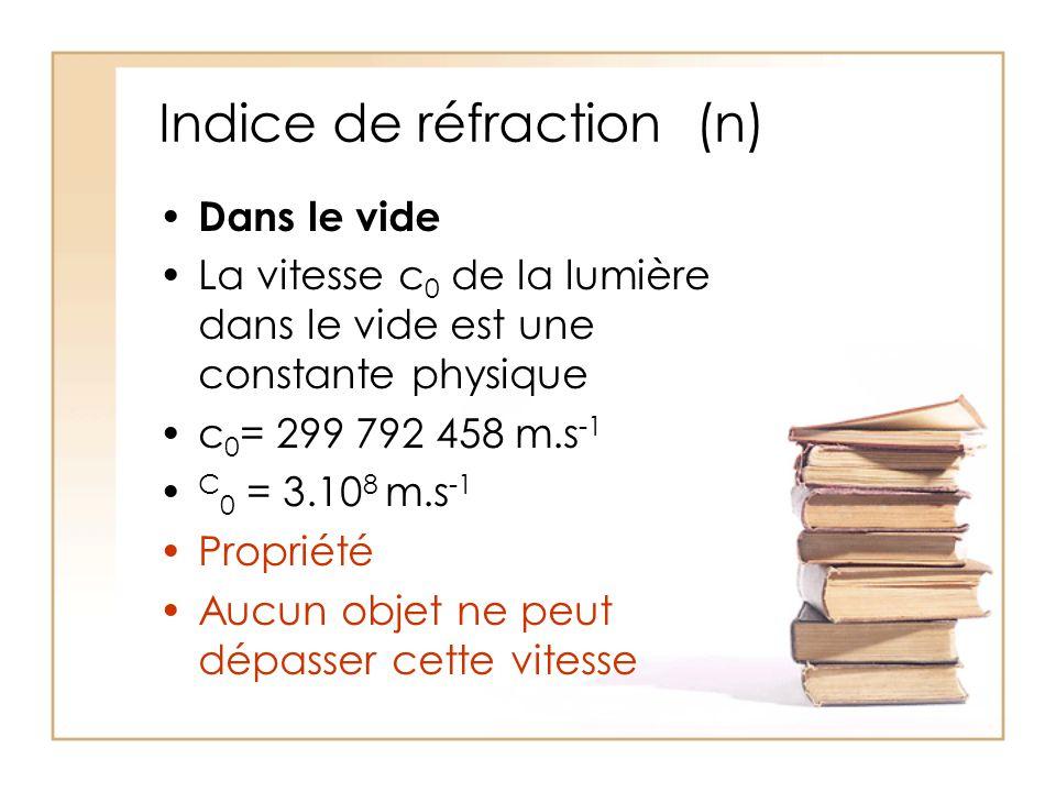 Indice de réfraction (n) Dans le vide La vitesse c 0 de la lumière dans le vide est une constante physique c 0 = 299 792 458 m.s -1 C 0 = 3.10 8 m.s -