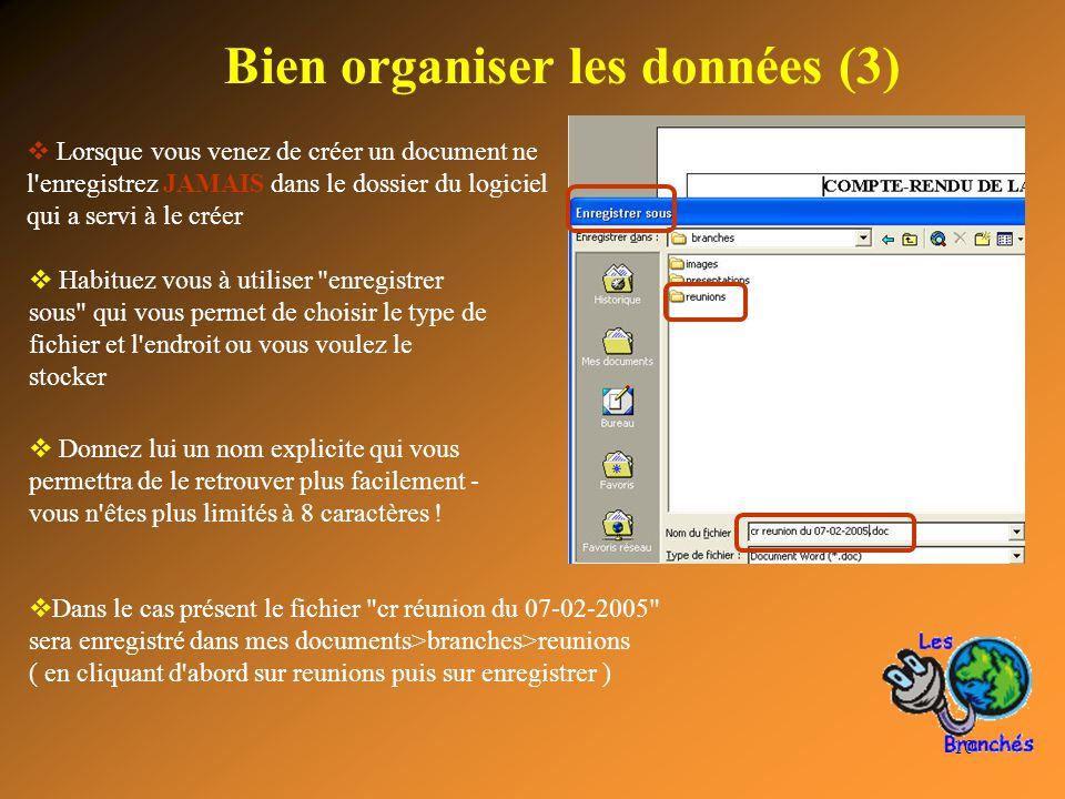 10 Bien organiser les données (3)  Lorsque vous venez de créer un document ne l'enregistrez JAMAIS dans le dossier du logiciel qui a servi à le créer