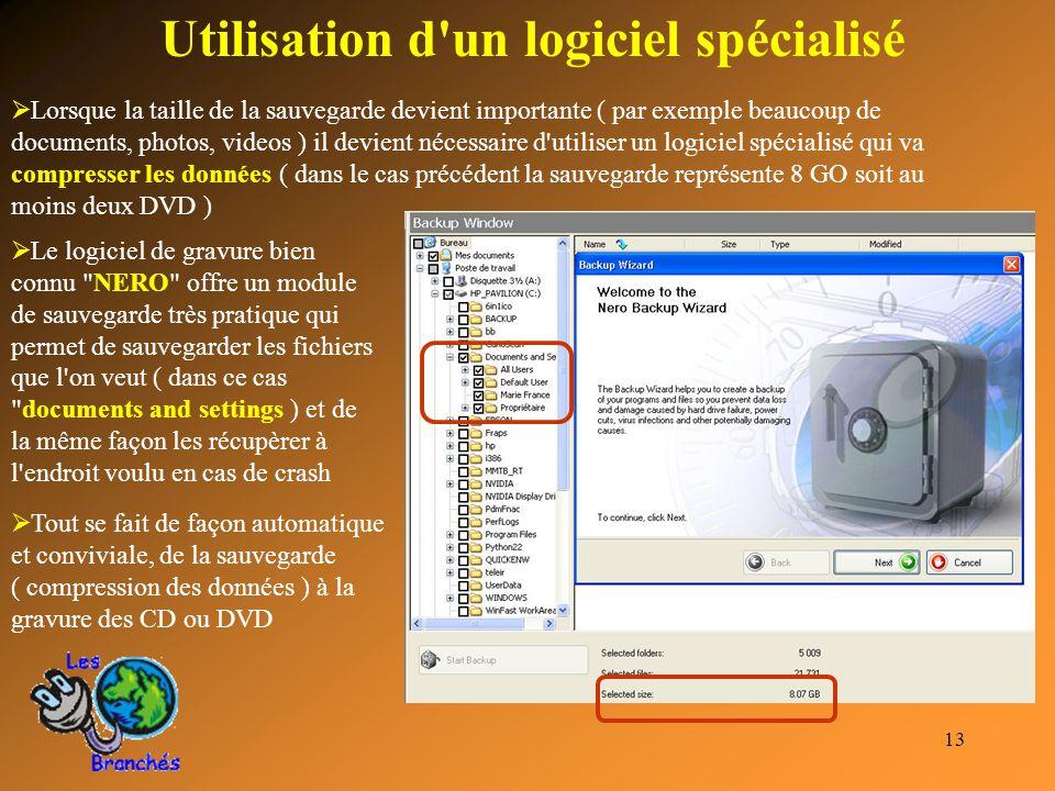13 Utilisation d'un logiciel spécialisé  Lorsque la taille de la sauvegarde devient importante ( par exemple beaucoup de documents, photos, videos )
