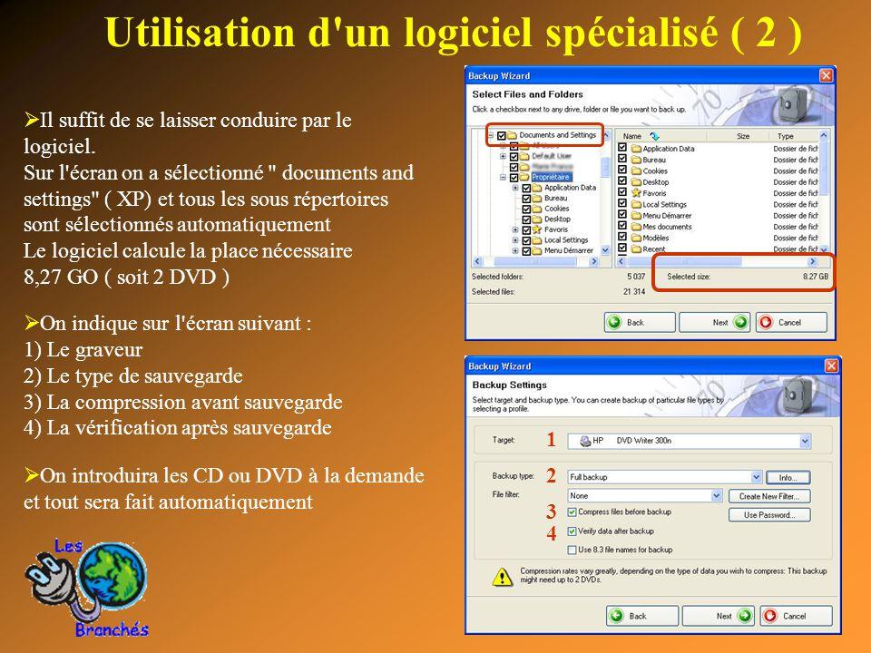 14 Utilisation d'un logiciel spécialisé ( 2 )  Il suffit de se laisser conduire par le logiciel. Sur l'écran on a sélectionné