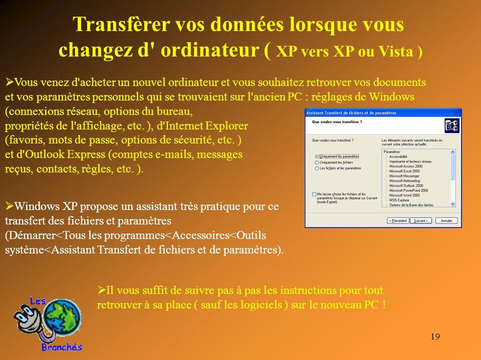 19 Transfèrer vos données lorsque vous changez d' ordinateur ( XP vers XP ou Vista )  Vous venez d'acheter un nouvel ordinateur et vous souhaitez ret