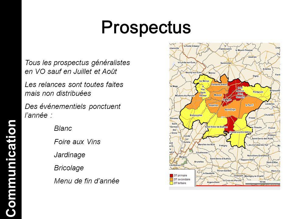 Prospectus Tous les prospectus généralistes en VO sauf en Juillet et Août Les relances sont toutes faites mais non distribuées Des événementiels ponct