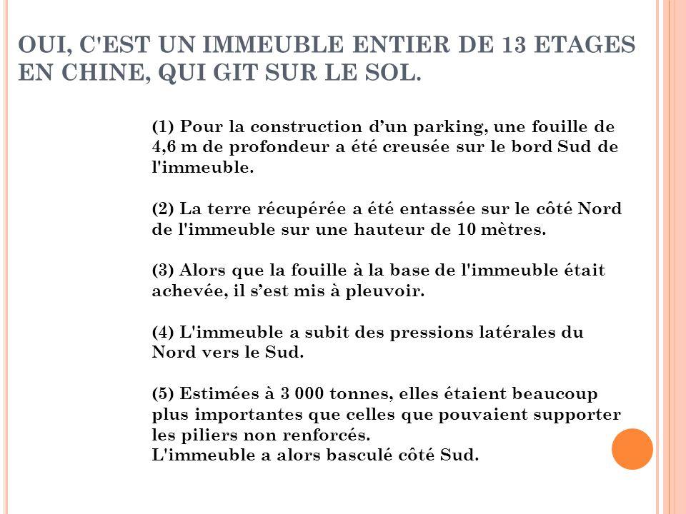 OUI, C'EST UN IMMEUBLE ENTIER DE 13 ETAGES EN CHINE, QUI GIT SUR LE SOL. (1) Pour la construction d'un parking, une fouille de 4,6 m de profondeur a é