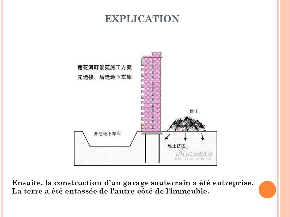 Ensuite, la construction d'un garage souterrain a été entreprise. La terre a été entassée de l'autre côté de l'immeuble. EXPLICATION