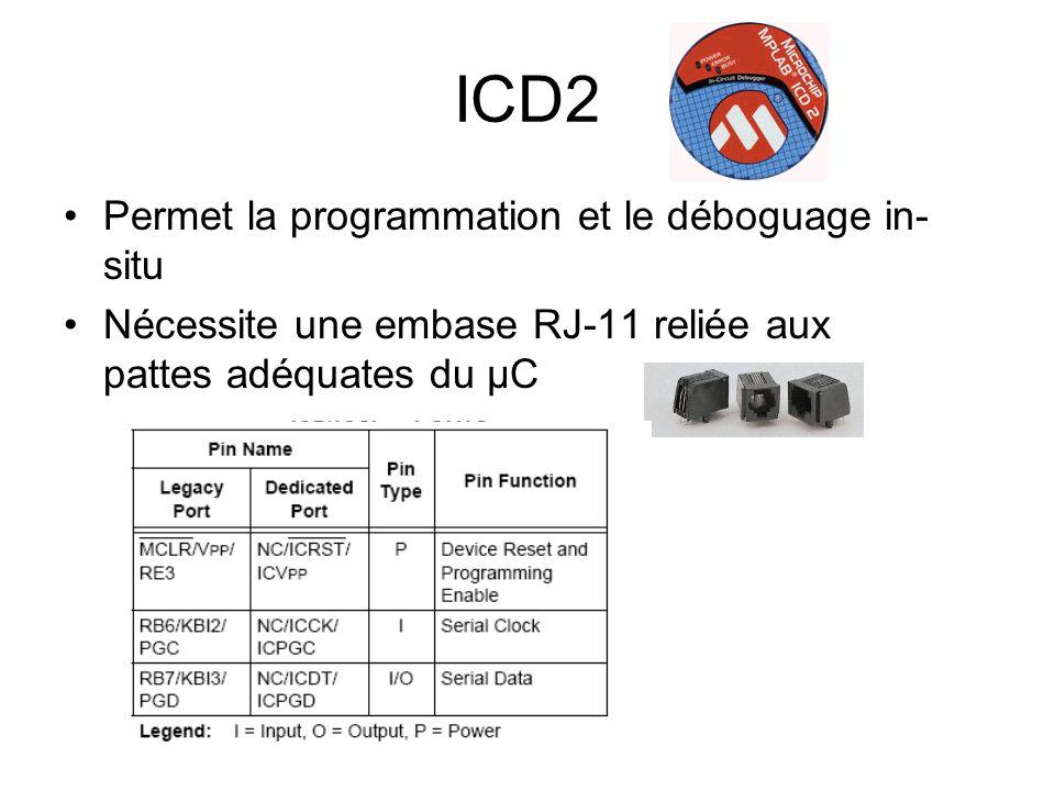 ICD2 Permet la programmation et le déboguage in- situ Nécessite une embase RJ-11 reliée aux pattes adéquates du µC