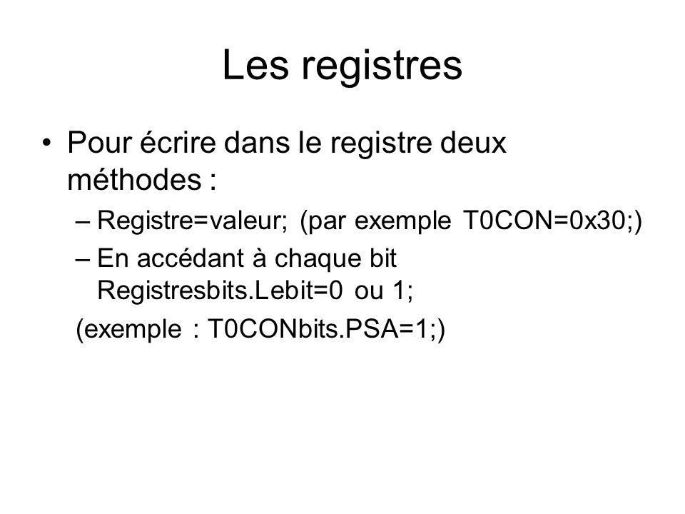 Les registres Pour écrire dans le registre deux méthodes : –Registre=valeur; (par exemple T0CON=0x30;) –En accédant à chaque bit Registresbits.Lebit=0 ou 1; (exemple : T0CONbits.PSA=1;)