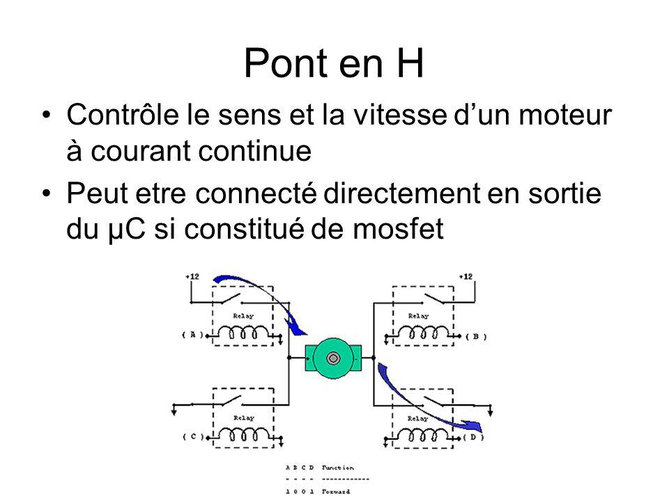 Pont en H Contrôle le sens et la vitesse d'un moteur à courant continue Peut etre connecté directement en sortie du µC si constitué de mosfet