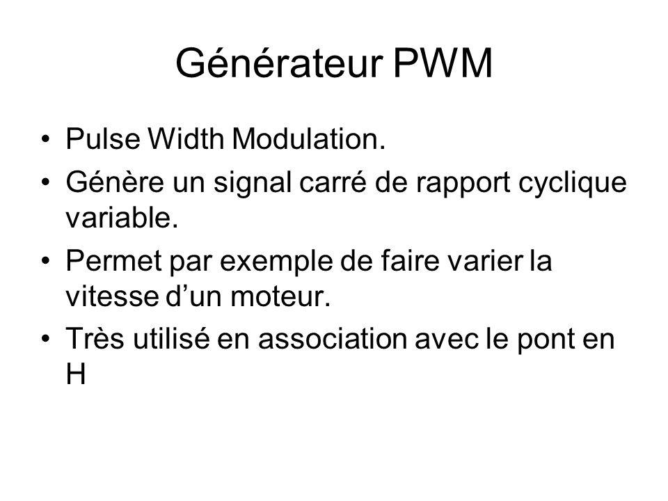Générateur PWM Pulse Width Modulation. Génère un signal carré de rapport cyclique variable. Permet par exemple de faire varier la vitesse d'un moteur.